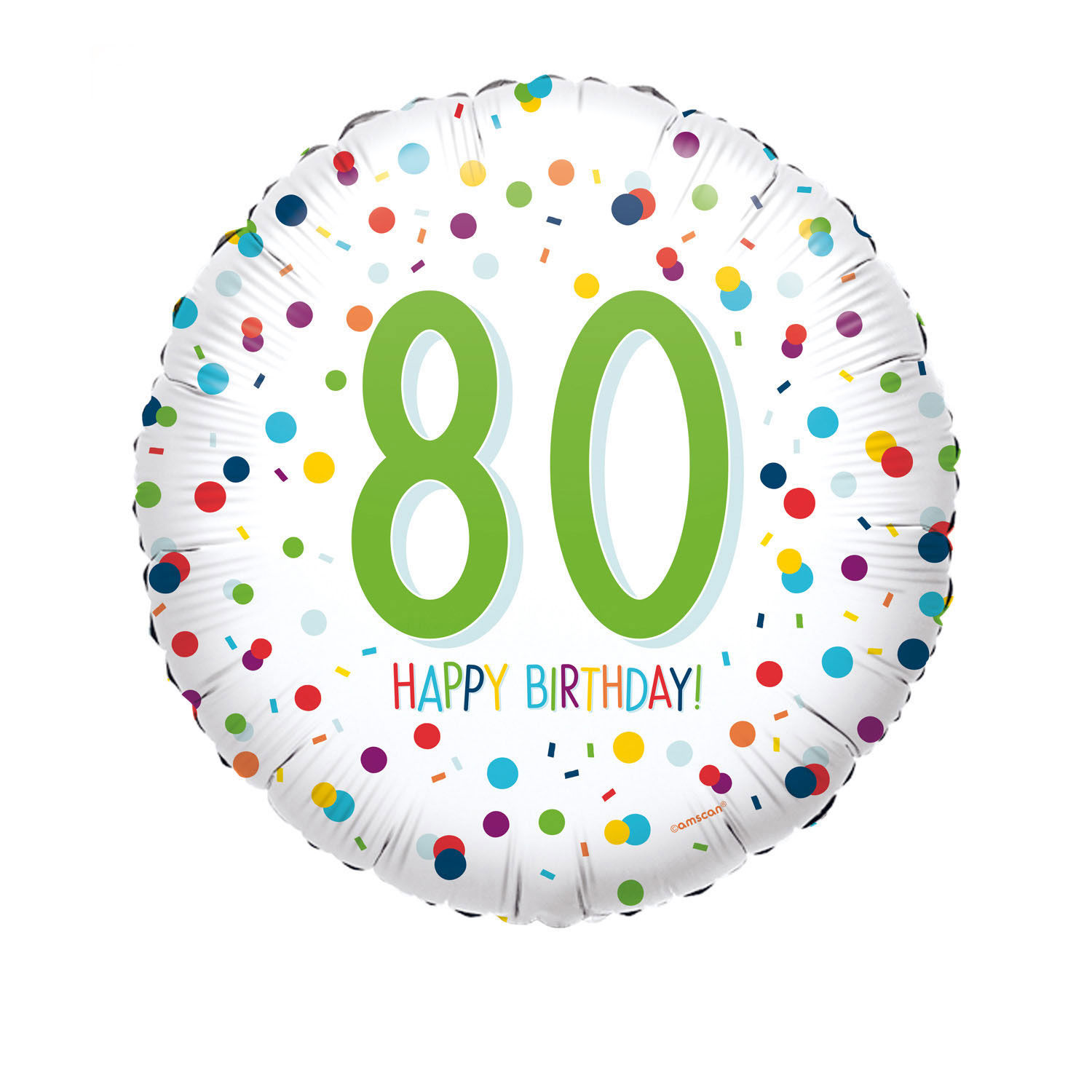 NEU Folienballon Konfetti Happy Birthday 80, ca. 45cm