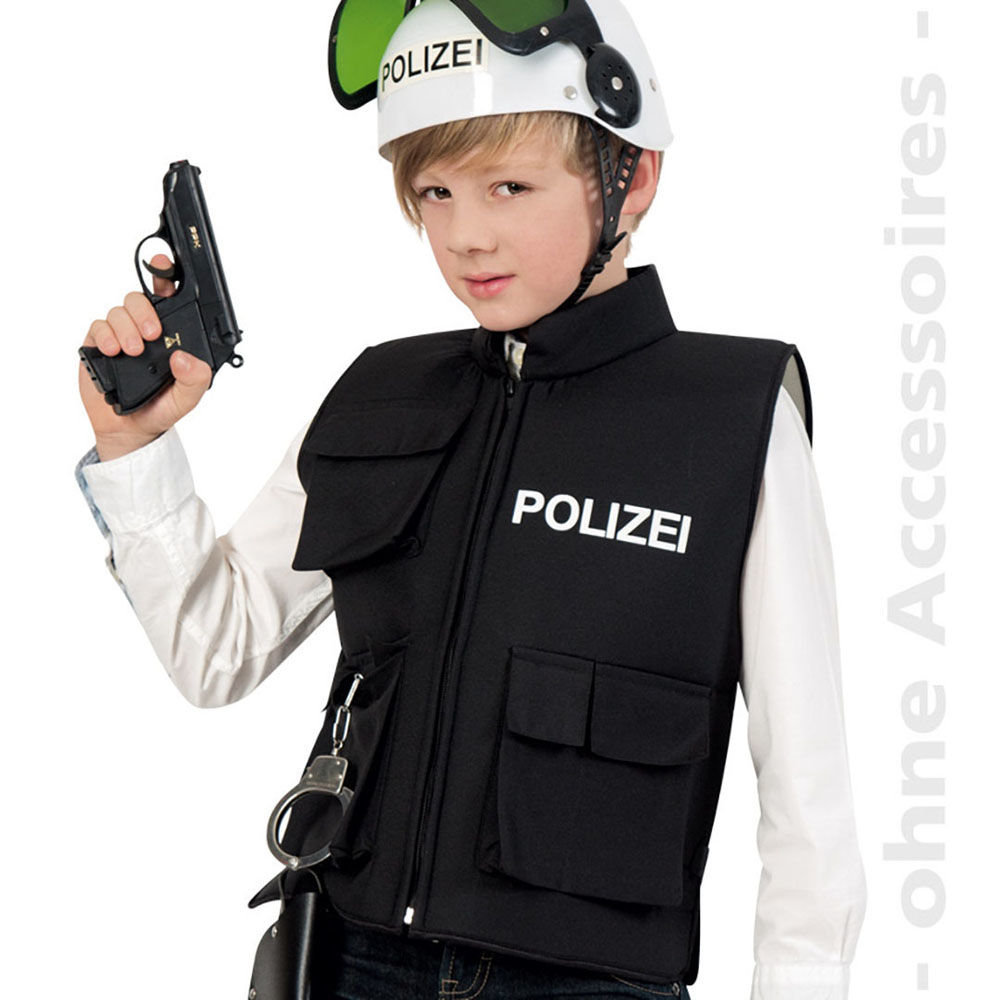 kinderweste polizei mit taschen gr 140  kinderkostüme