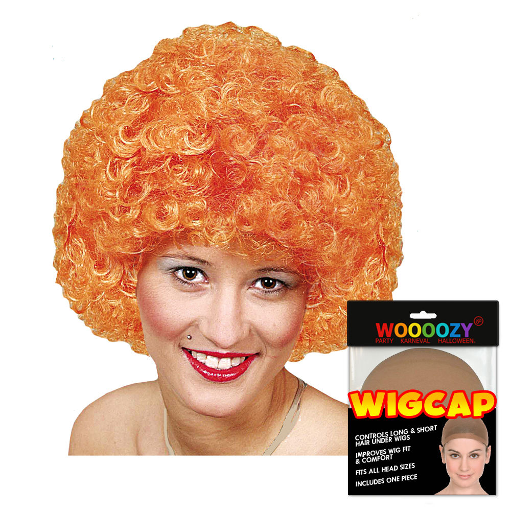 Perücke Unisex Clown, Afro Hair, kleine Locken, orange - mit Haarnetz