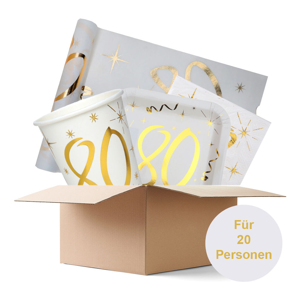Partybox 80th gold, 20 Personen