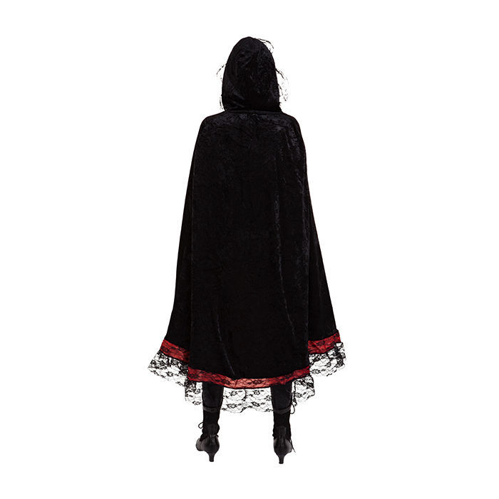 umhang mit kapuze schwarz rot mit spitze m ntel kutten umh nge kost me verkleiden. Black Bedroom Furniture Sets. Home Design Ideas