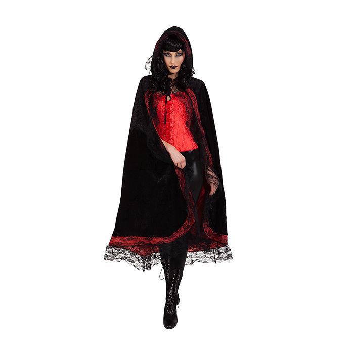 umhang mit kapuze schwarz rot mit spitze m ntel kutten umh nge halloween kost me halloween. Black Bedroom Furniture Sets. Home Design Ideas
