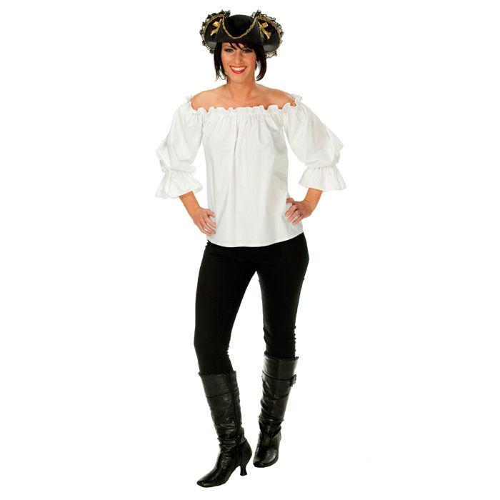 46fbf5a7c22b Damen-Bluse Piratin, schulterfrei weiß, Gr. 50 - Große Größen für ...