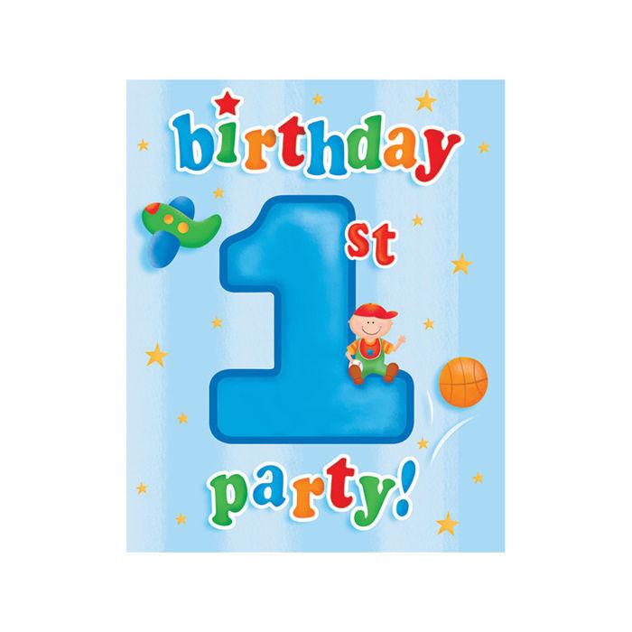 Einladung 1. Geburtstag Boy, 10x12 Cm, 8 Stk