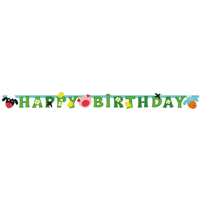 Girlande Happy Birthday Farm Fun, 180 cm