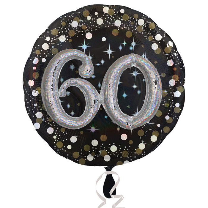 Folienballon Sparkling Birthday 60th, 81 cm