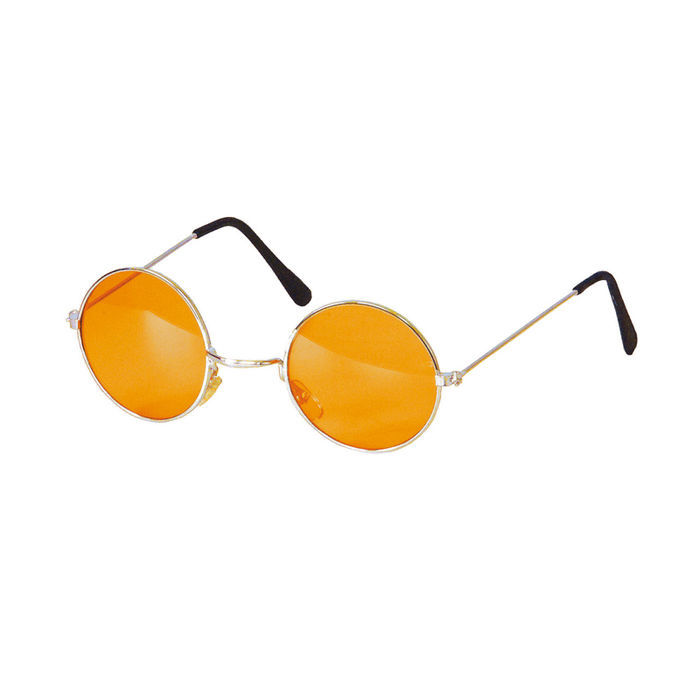 Brille Hippie, runde, orange Gläser aus Metall