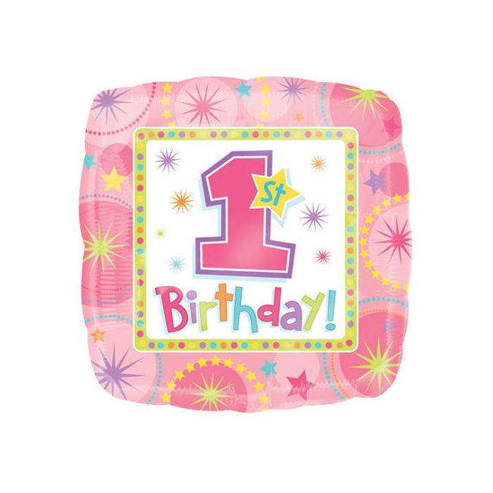 Sale folienballon 1 geburtstag m dchen eckig 1er for Geburtstagsdeko 1 geburtstag