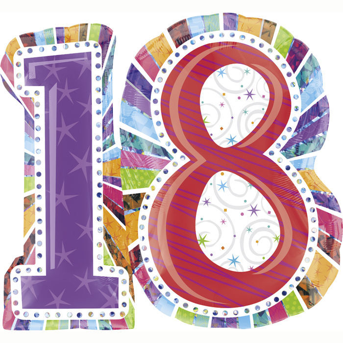 Folienballon Radiant Birthday 18 XL, 71x66 cm