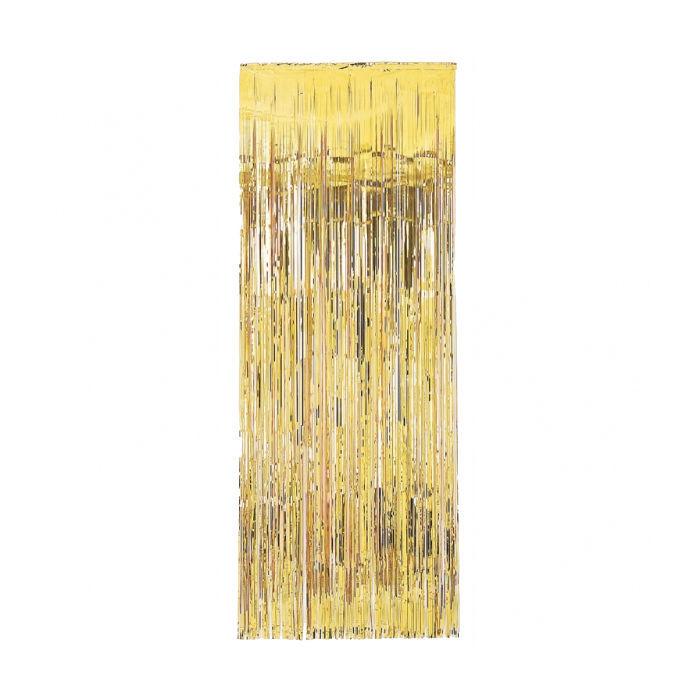 vorhang lametta metallic gold 240 x 92 cm silvester deko und feuerwerk festbedarf allgemein. Black Bedroom Furniture Sets. Home Design Ideas