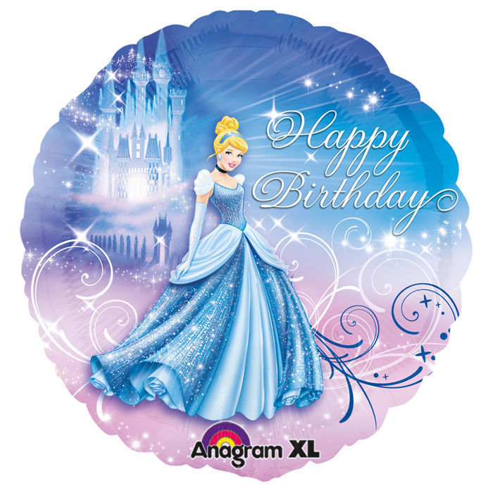 Folienballon Cinderella Happy Birthday, 45 cm
