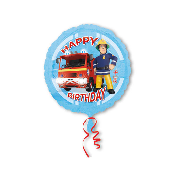 Folienballon Fireman Sam Happy Birthday 45 cm