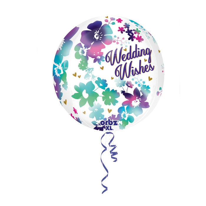 SALE Folienballon Wedding Wishes, Orbz, 38x40 cm