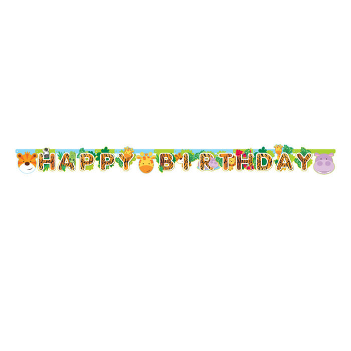 Girlande Happy Birthday Dschungel Party, 1,8 m