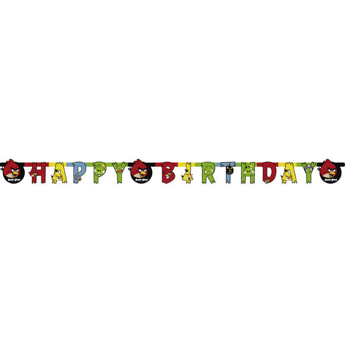 SALE Girlande Happy Birthday Angry Birds 180 cm
