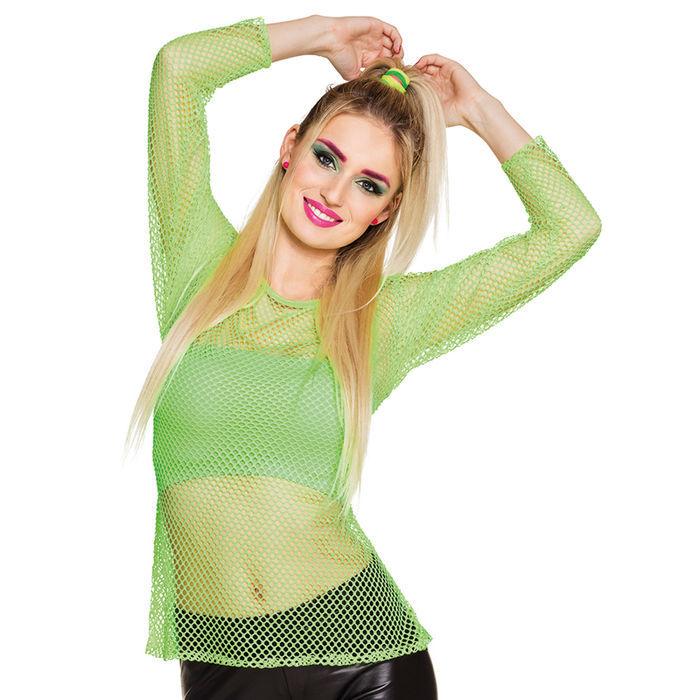 Netz Shirt Neongrun Einheitsgrosse Accessoires 80er Jahre Kostum