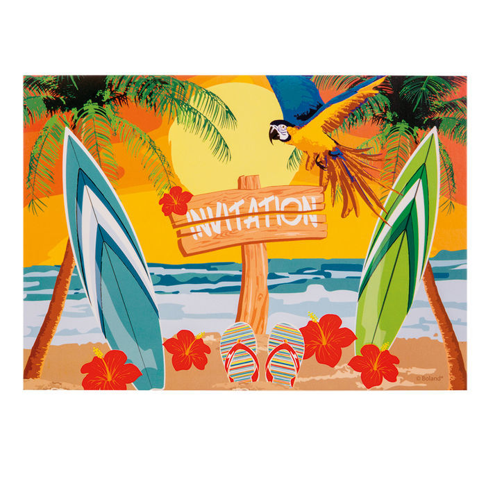 Sale Einladungskarten Beach 10x15 Cm 6 Stück Hawaii Beachparty