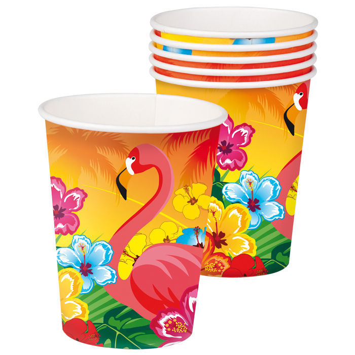 Becher Hawaii Flamingo, 6 Stk. 0,25 ml