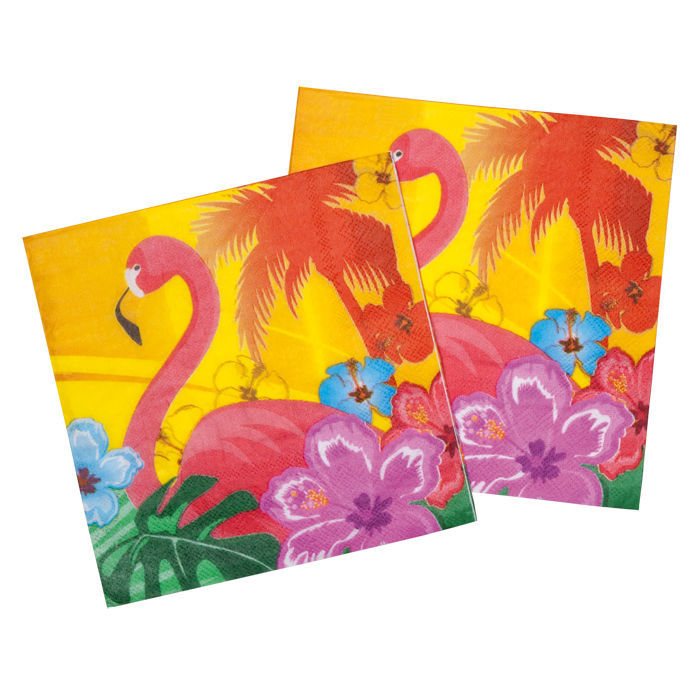 Servietten Hawaii Flamingo, 12 Stk. 33 x 33 cm