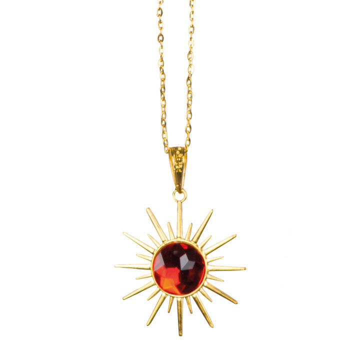 Kette Dracula, gold mit rotem Stein