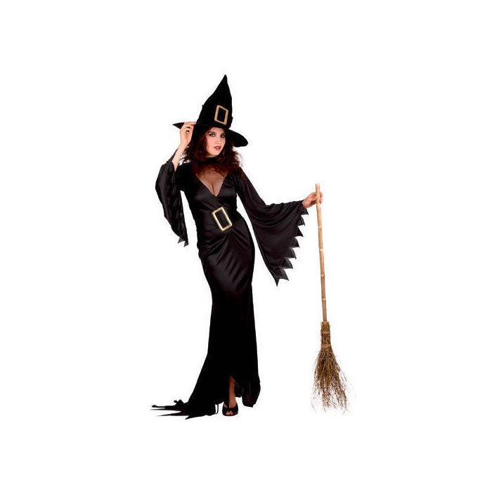damen kost m elegant witch schwarz gr 36 40 halloween. Black Bedroom Furniture Sets. Home Design Ideas