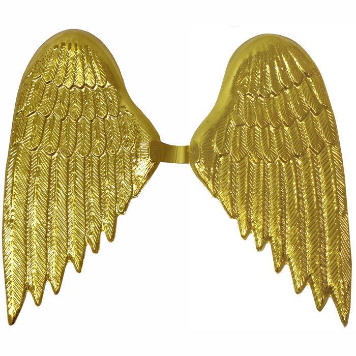 Fl gel Engel aus Kunststoff 45x40cm gold Kost m Accessoires Gold