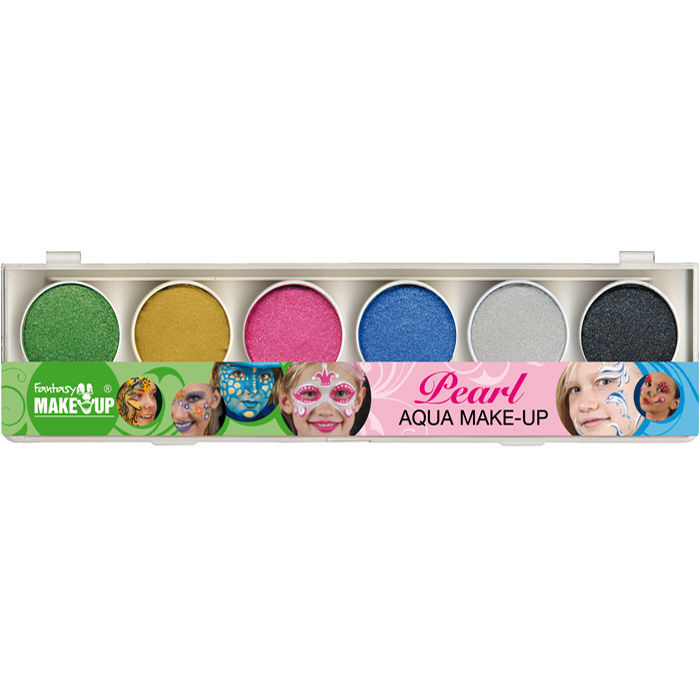 Aqua Make Up Malkasten, 6 Perlglanzfarben
