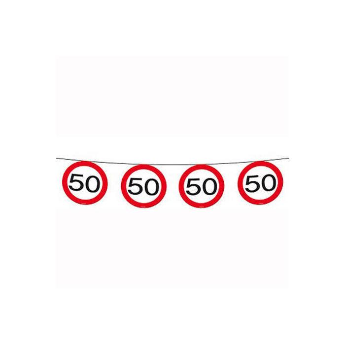 Girlande Verkehrsschild 50, 12 m, 15 Schilder - 50er ...