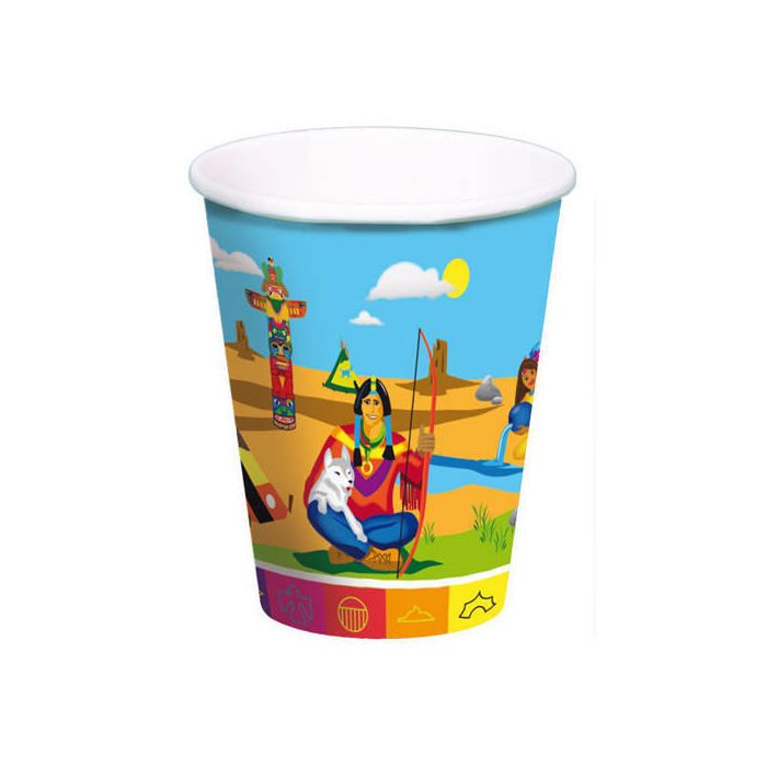 Becher Indianer Party, 250ml, 8 Stk.