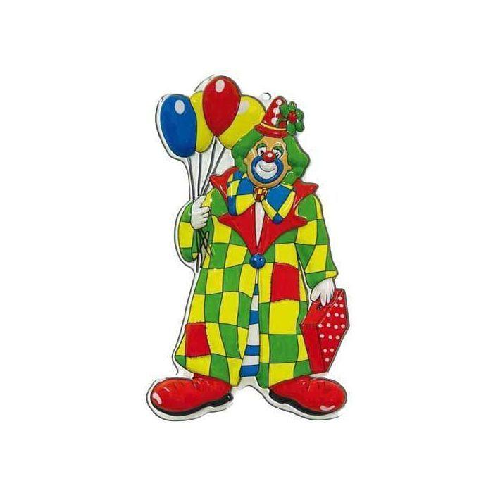 Wand Deko Clown Mit Ballons, Höhe Ca. 60 Cm
