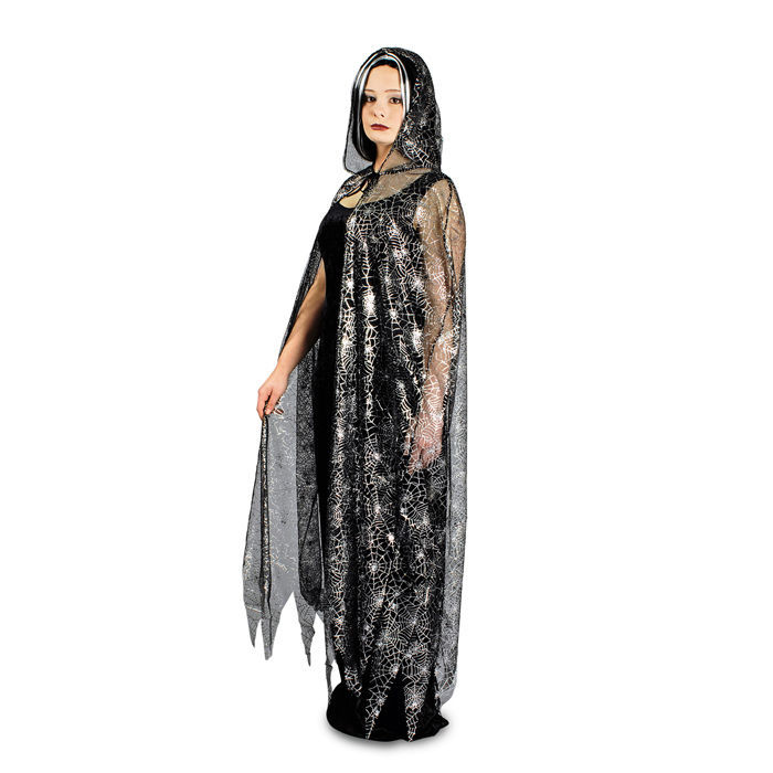 SALE Umhang Spinnennetz-Cape, transparent-silber