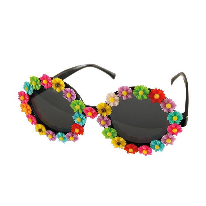 70er Hippie Karneval Brille Kostüm Zubehör schwarz  verspiegelt Flower Power