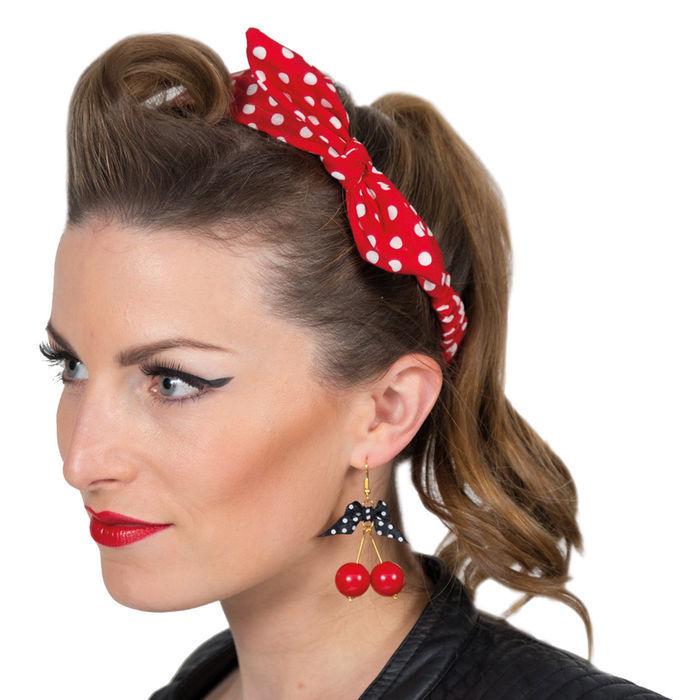 Haarband 60er Punkte Rot Weiss Accessoires 20er Jahre Kostum