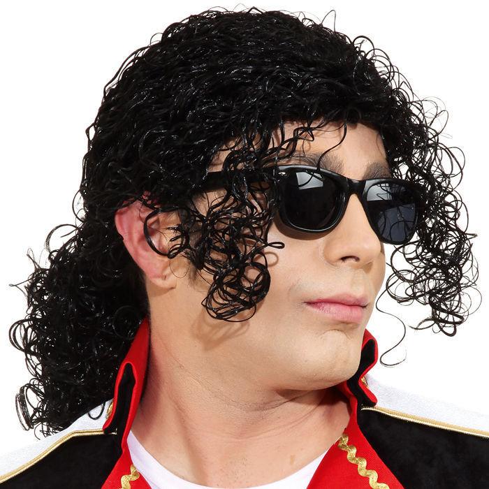 Karneval Fasching Perücke Haare 80er Jahre Popstar Perücke schwarz NEU