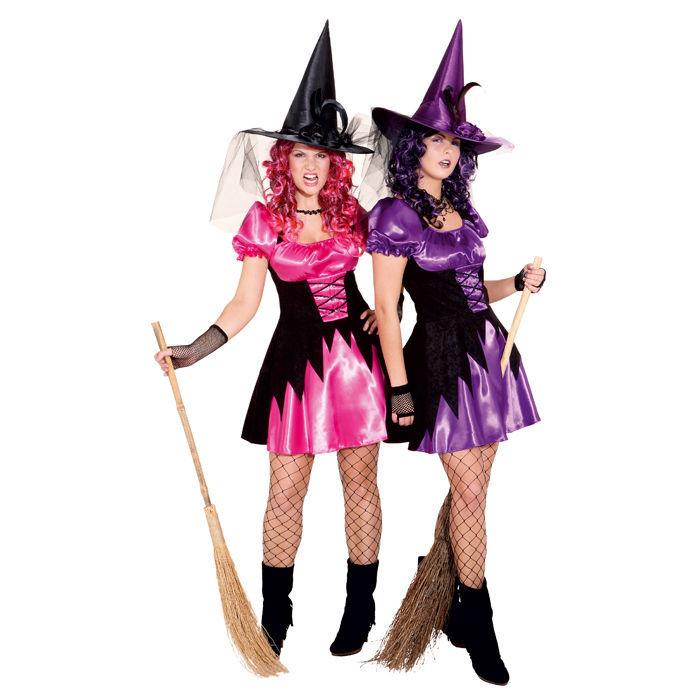 sale damen kost m hexe leila pink schwarz gr 42 halloween damenkost me halloween kost me. Black Bedroom Furniture Sets. Home Design Ideas