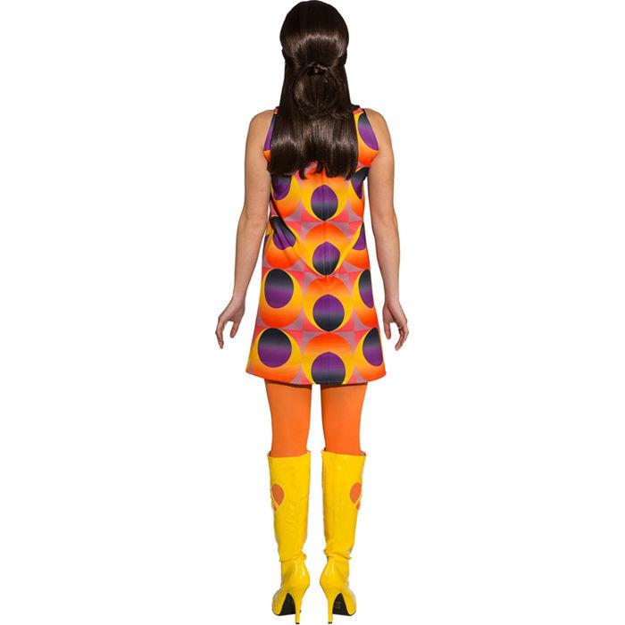 damen kost m disco kleid gelb orange gr 36 70er jahre. Black Bedroom Furniture Sets. Home Design Ideas