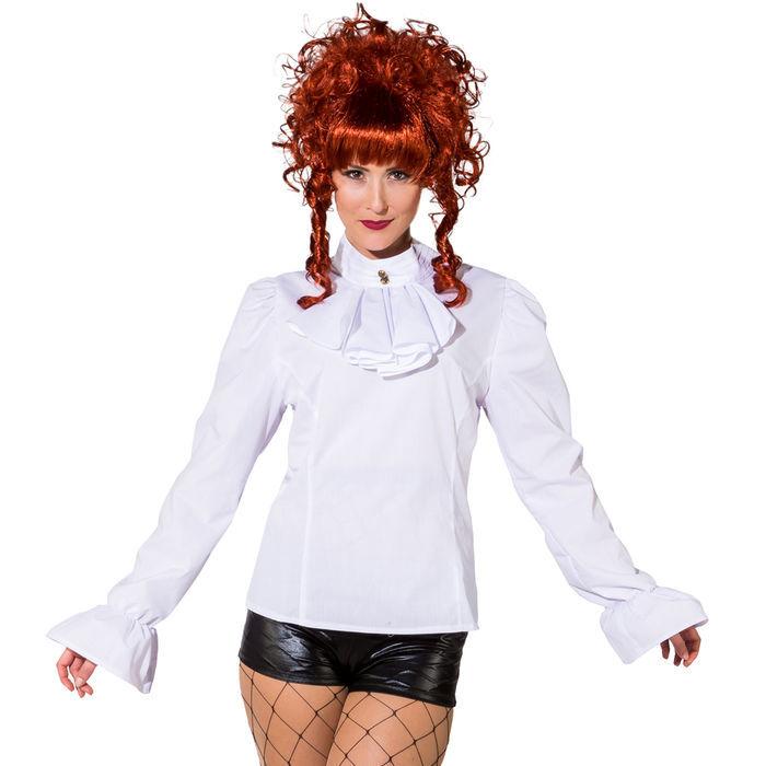 63ad7e2c6acc Damen-Bluse mit Jabot, weiß, Gr. 44 - Piratin Kostüme   Blusen ...