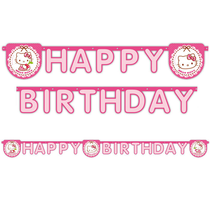 Girlande Hello Kitty, HAPPY BIRTHDAY, ca. 2 m