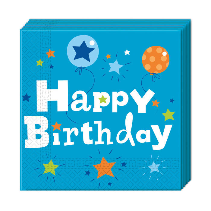 Servietten Happy Birthday Boy 33x33cm 20 St