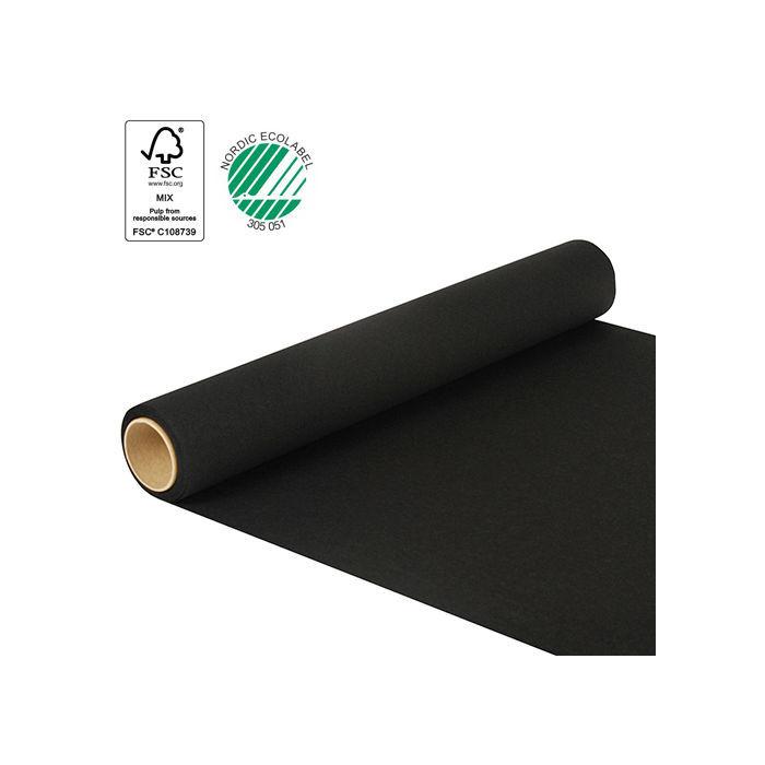 tischl ufer schwarz 500 x 40 cm rei fest tischtuchpapiere party geschirr tischtuch. Black Bedroom Furniture Sets. Home Design Ideas