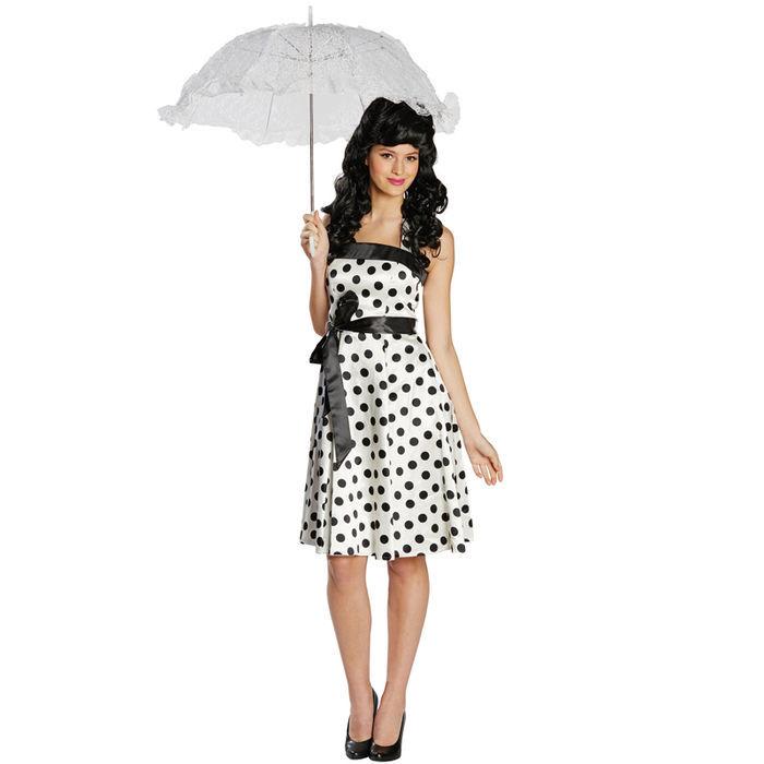 SALE Damen Kostüm 50er Jahre Kleid weiß-schw Gr.44 - 50er   60er ... 9fd6566800