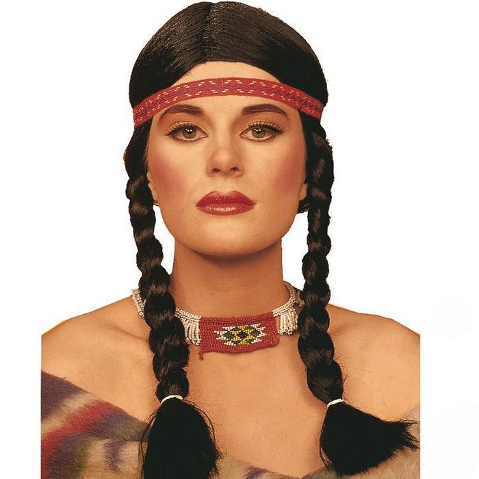 sale zopf per cke indianerin schwarz mit stirnband wild west party motto party produkte. Black Bedroom Furniture Sets. Home Design Ideas