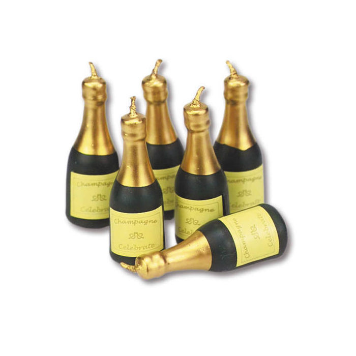Kerzen Set Champanger Flaschen Ca 55 Mm 6 Stk Silvester Deko