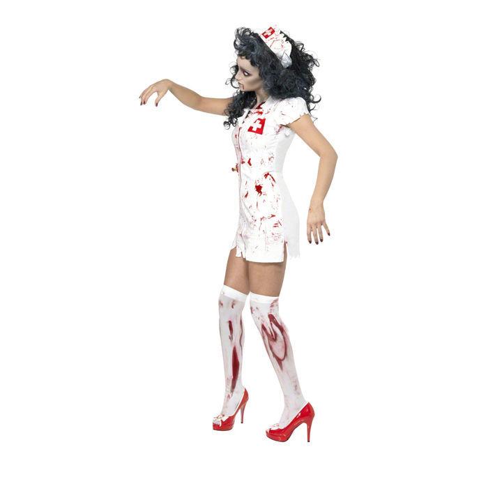 damen kost m zombie krankenschwester gr xs hexen vampire halloween kost me f r erwachsene. Black Bedroom Furniture Sets. Home Design Ideas