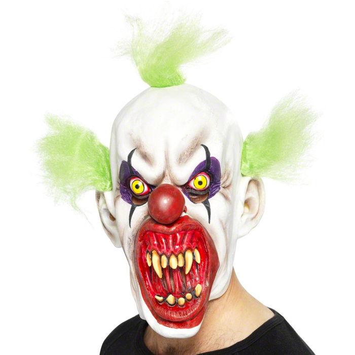 Latexmaske horror clown gr ne haare kunststoff und for Clown schminken bilder