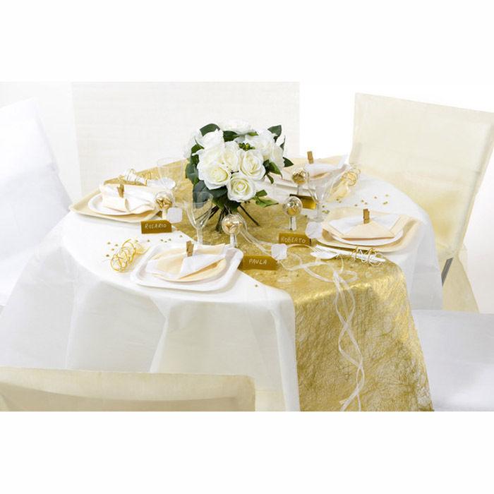tischl ufer faseroptik gold metallic 30cm x 5m tischtuchpapiere party geschirr tischtuch. Black Bedroom Furniture Sets. Home Design Ideas