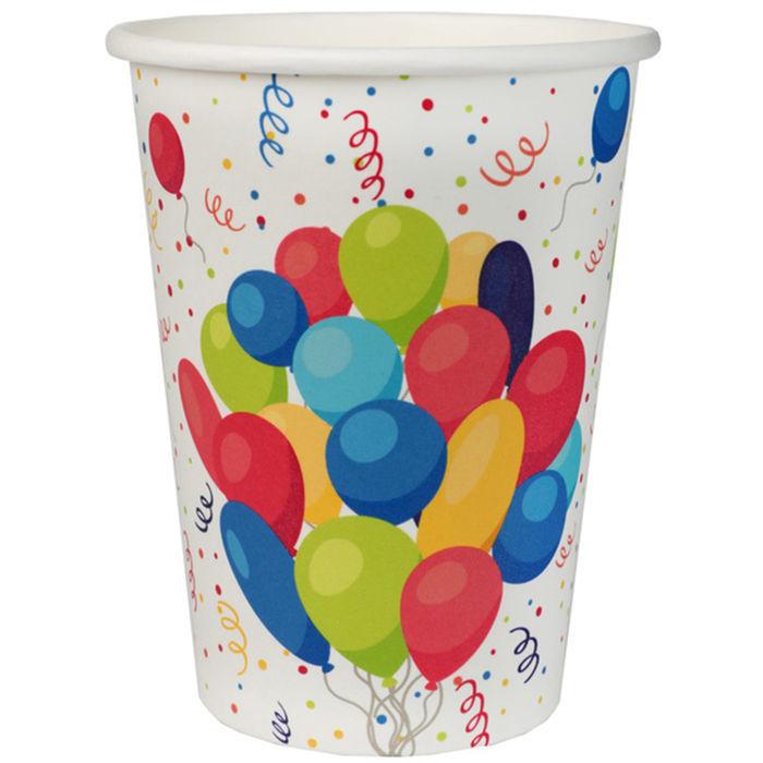 Einwegbecher Party Ballons bunt 200ml 10 Stück Plastikbecher Partybecher