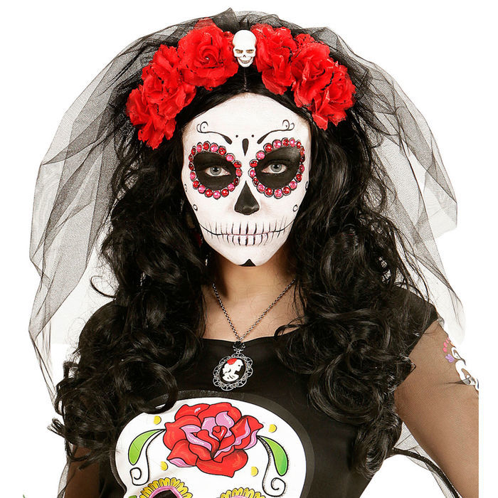 haarreif rote rose mit totenkopf und schleier halloween h te halloween shop produkte party. Black Bedroom Furniture Sets. Home Design Ideas