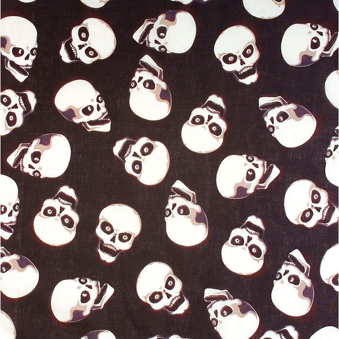 Baumwolle Bandana Totenkopf 55 x 55 cm schwarz- weiß,Gr