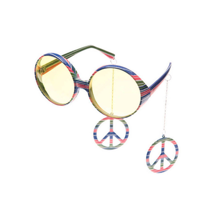 SALE Brille Hippie mit Ohrringen, bunt